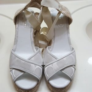 White coach lace up strap wedge